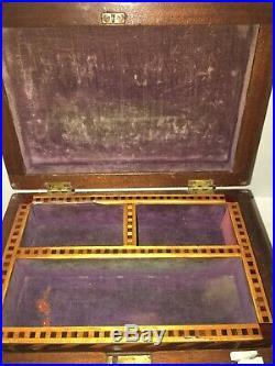 ANTIQUE Inlayed Parquet Tramp Art Jewelry Document Casket Box 19Th Century