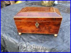ANTIQUE REGENCY YEW WOOD INLAID JEWELLERY BOX with working lock/key