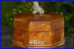 ANTIQUE Russian Karelian Birch case box silver Jewelry dog wood faberge casket