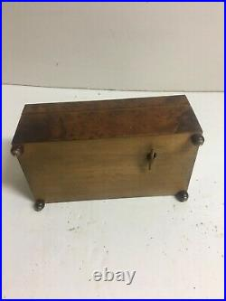 ANTIQUE VINTAGE SWISS MUSIC BOX JEWELRY BURL WOOD With INLAY With BRASS CREST