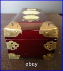 ASIAN Redwood Box Jade w-Brass Embellishments, Original Lock & Key Satin