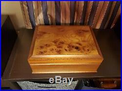Agresti Italian Burled Briarwood Jewelry Box Tray Key Suede Lining New