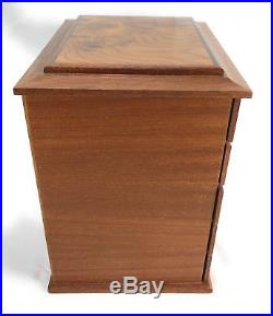 Agresti Italian Jewelry Chest Box Case Burl Briarwood 5 Drawer Suede Lined