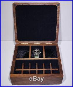 American Black Walnut Wood Large Watch Cufflink Bespoke Jewellery Storage Box