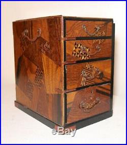 Antique 1800's Japanese handmade inlaid marquetry wood bronze jewelry box Meiji