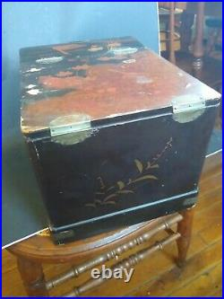 Antique 1800s Chinese lacquered Makeup Jewelry Box with Folding Mirror 12 x 8