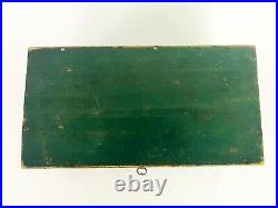 Antique 1800s Green Americana Primitive Pine Wood Document Box / Jewelry Box