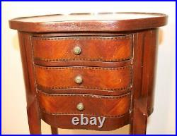 Antique 1800s handmade inlaid marquetry wood bed side standing table jewelry box