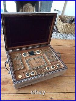 Antique 1830s Finely Carved And With Micro Mosaic Sewing Box