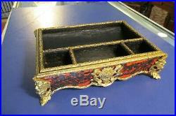 Antique 1846 brass & wood ink well jewelry box change holder dresser box