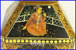= Antique 1900's Rajasthan India Bridal Dowry Box Hand Painted Jewelry Valuables