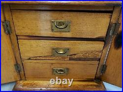 Antique 1900s English Oak Jewelry Box With Brass Hardware & Velvet Lined Drawers
