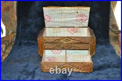 Antique 19th C. 7 layered Tramp Art jewelry box w lid and drawer key beer paint