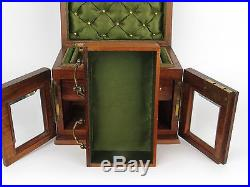Antique 19th C English Burl Walnut Jewelry Jewellery Box with Silk Interior