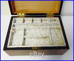 Antique 19th C Victorian Walnut Inlaid Jewelry Trinket Wood Box Orig Interior