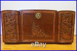 Antique 19th Century Asian Chinese/Japanese Hand Carved Wooden Jewelry Box