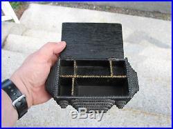 Antique 19th Century Tramp Folk Art Carved Wood Jewelry Trinket Box