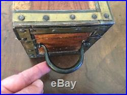 Antique 19th c. Anglo Indian Regency Campaign Tea Caddy Jewelry Box Camphor Wood