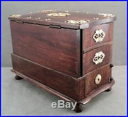Antique 19thC Wood Sewing Jewelry Box with 4 Swing-Out & 1 Big Drawer on Feet Lock
