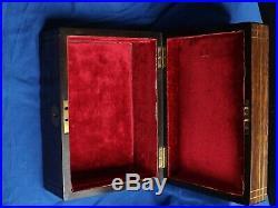 Antique 19thC Zebra Wood Jewellery Box With Brass Inlays