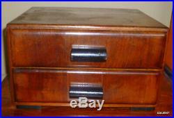 Antique 20s Wood Art Deco Vanity Dresser Furniture Top Jewelry Box Chest 2 Draw