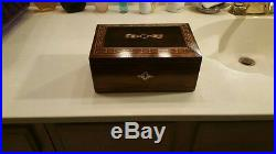 Antique 20th Century Inlaid Italian Rosewood Jewelry Box Victorian