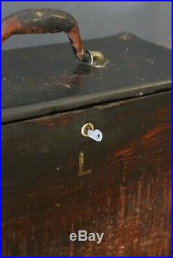 Antique 4 Drawer Machinist Tool Box Wood Chest with Key Jewelry Watches etc old