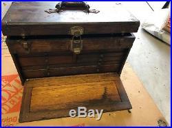 Antique 7 Drawer Vintage Machinist Wood Wooden Oak Tool Box & Mirror Jewelry etc