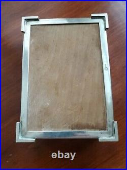 Antique 800 Sterling Silver Footed Cigarette Case Jewelry Box Wood Lined No Mono