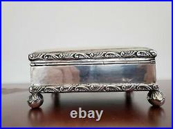 Antique 830 Sterling Silver Footed Cigarette Case Jewelry Box Wood Lined No Mono