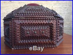 Antique Adirondack style Tramp Art sewing jewelry box Somerset County PA 19th c