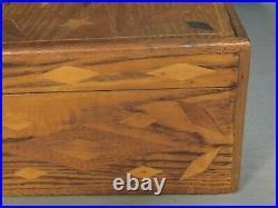 Antique Americana Folk Inlaid Wood Dresser Jewelry Work Box HEART Diamonds Tramp