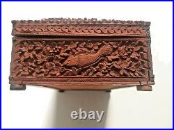 Antique Anglo Indian Sandal Wood Carved Jewelry Casket Box