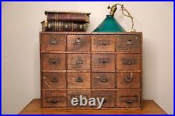Antique Apothecary Cabinet 16 Drawer wood hardware storage organizer jewelry box