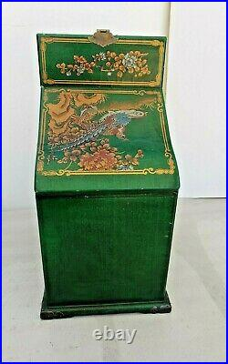 Antique Art Chinese Chinoiserie Green Lacquer Coromandel-Mirror Jewelry Chest