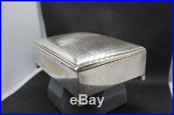Antique Art Deco Trinket Cigar Wood Liner Humidor Case Box Jewelry Caddy silver