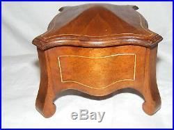 Antique Art Nouveau Arts Crafts Wooden Jewellery Box Casket Stylised Silk Lining