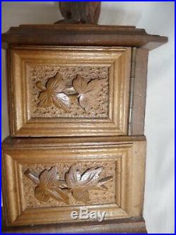 Antique Black Forest Carved Jewelry Box 2 Birds, 3 Compartments Flowers Leaves