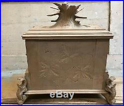 Antique Black Forest Carved Jewelry Chest, 3 Tier Box Bird Figures Lined w / Key