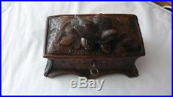 Antique Black Forest Hand Carved Jewellery with bird