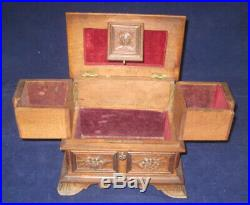 Antique Black Forest Hand Carved Jewelry 2 tier Chest Box Bird Figures Walnut
