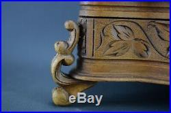 Antique Black Forest Hand Carved Wood Bird Trinket Box Jewelry Casket