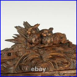 Antique Black Forest Hand Carved Wood Jewelry Box Figural Rabbit Hare Lock & Key