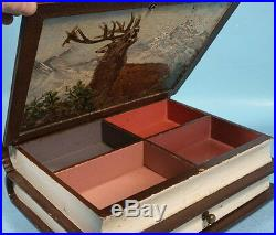 Antique Black Forest Wood Carving Jewelry Box Oil Painting Edelweiss Stag Signed