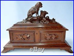 Antique Black Forest Wood Wooden Carved Jewellery Casket Box Hunting Dog Figural