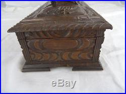 Antique Black Forest Wood Wooden Carved Jewellery Casket Box Roosters Walnut