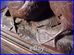 Antique Black Forest carved wooden jewelry box with birds BEAUTIFUL