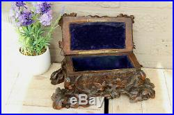 Antique Black forest detailed wood carved jewelry trinket box bird