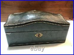 Antique Blue Velvet Leather Jewelry Box Ring Slots tray Victorian Misuri Italy