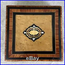 Antique Boulle Work Jewelry Box Inlaid French Wood Marquetry Wooden
